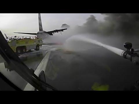 Crash Truck Dash Cam: AA 383 Fire at O'Hare (Fire Trucks Nearly Collide)