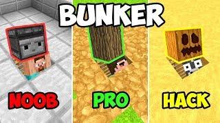 MINECRAFT NOOB VS PRO: BUNKER APOCALIPTICO SECRETO 😱 3 NOOB VS CONSTRUIR BUNKER 😯 thumbnail