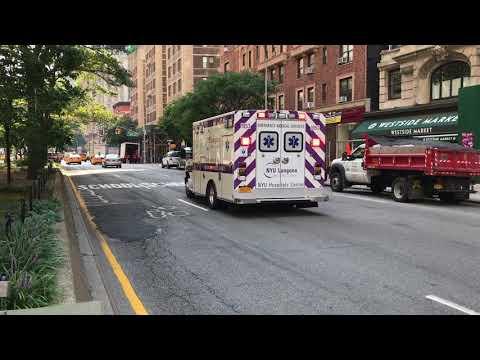 NYU LANGONE MEDICAL CENTER EMS AMBULANCE RESPONDING ON BROADWAY ON THE WEST SIDE OF MANHATTAN.