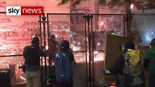 Protesters use leaf-blowers and fireworks as stand-off continues in Portland