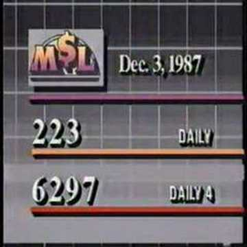WDIV - Michigan Lottery results (December 3, 1987)