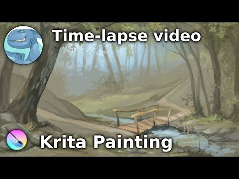 Forest landscape. Speed painting with Krita.