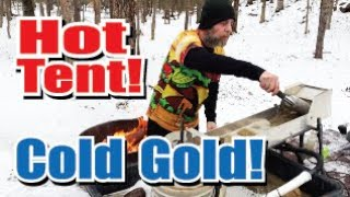 Winter sluicing and H๐t Tent Camping New Hampshire