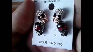 2 x Pairs of Skull Shaped Earring Ear Nail Eardrop Ear Drop Earbob Jewelry for Lady Women