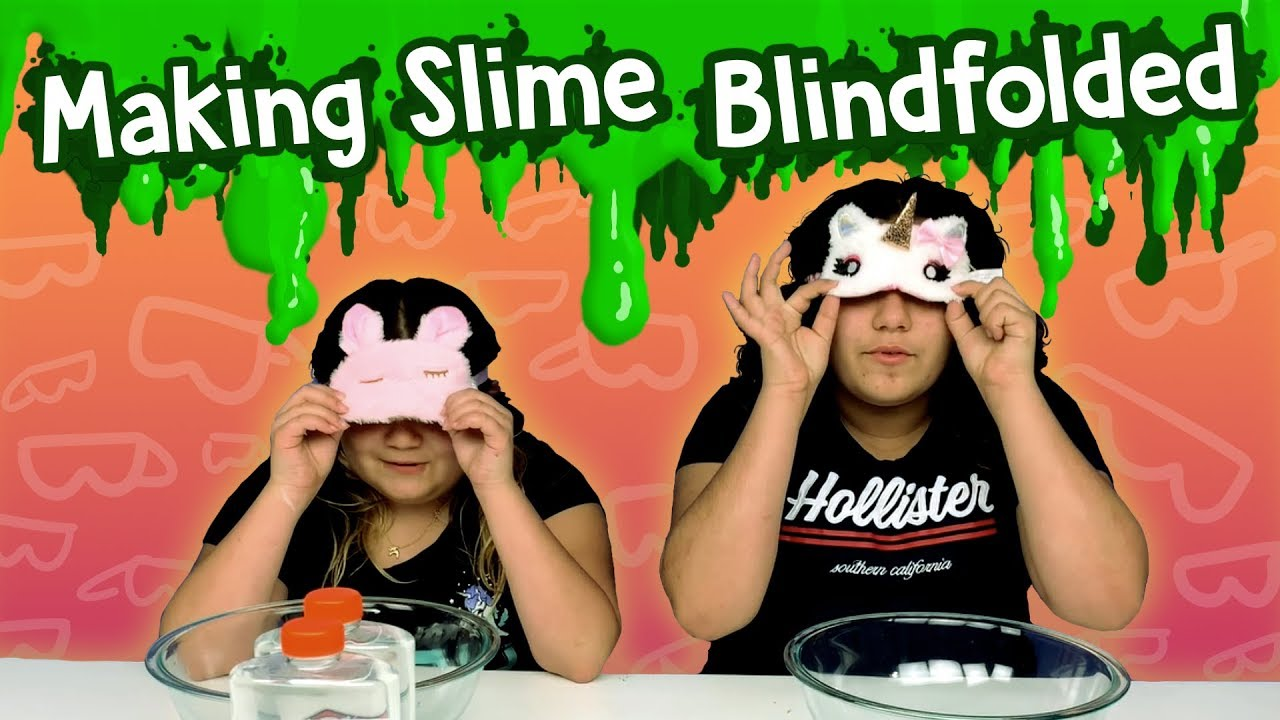 Slime Master Mary And Izzy: Izzy CHEATED!!! Blindfolded Slime Challenge!