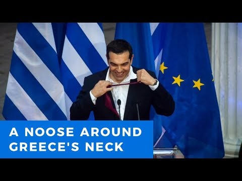 Alexis Tsipras puts on a necktie, places noose around Greece's neck