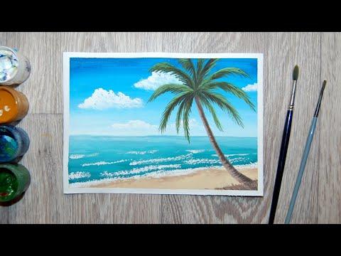 Как нарисовать пальму и море