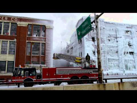 """Ice Palace""Amazing Video of CFD battling the 5-11 Alarm Warehouse Fire Chicago IL 2013"