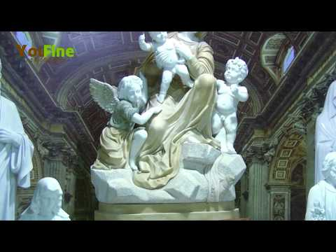 Religious marble Jesus and virgin Mary statue in stock for decor