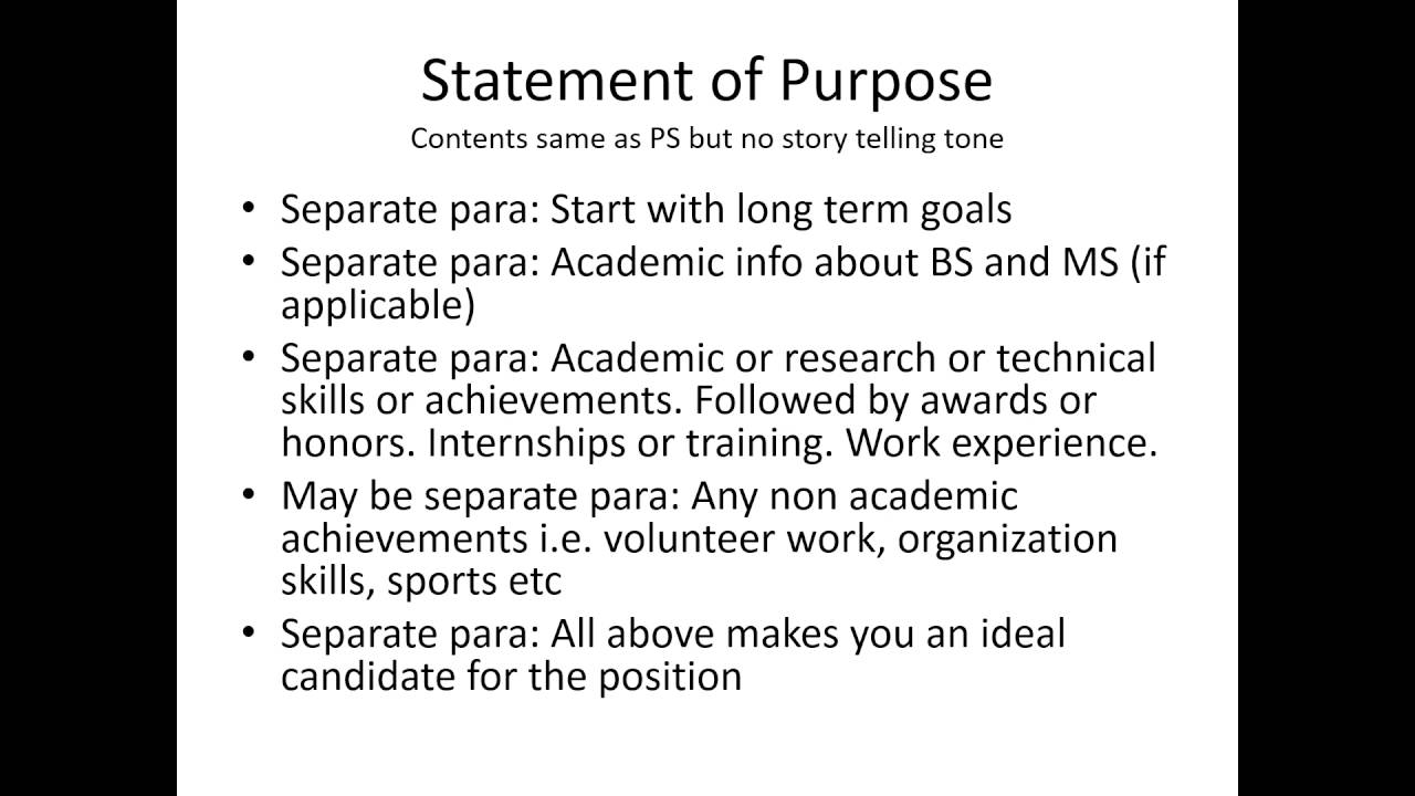 personal statement  statement of purpose  motivation
