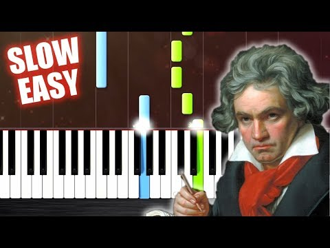 Beethoven - Ode To Joy - SLOW EASY Piano Tutorial by PlutaX