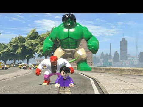 Bruce Banner (Transformation) vs Big Hulk vs Red Lizard - LEGO Marvel Super Heroes Games