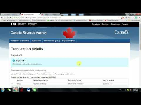 Canada Revenue Agency Gst payment 如何在官网付GST