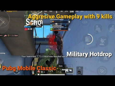 Pubg Mobile Montage | Aggresive Gameplay with 9 kills | Military Hotdrop | Ep -11