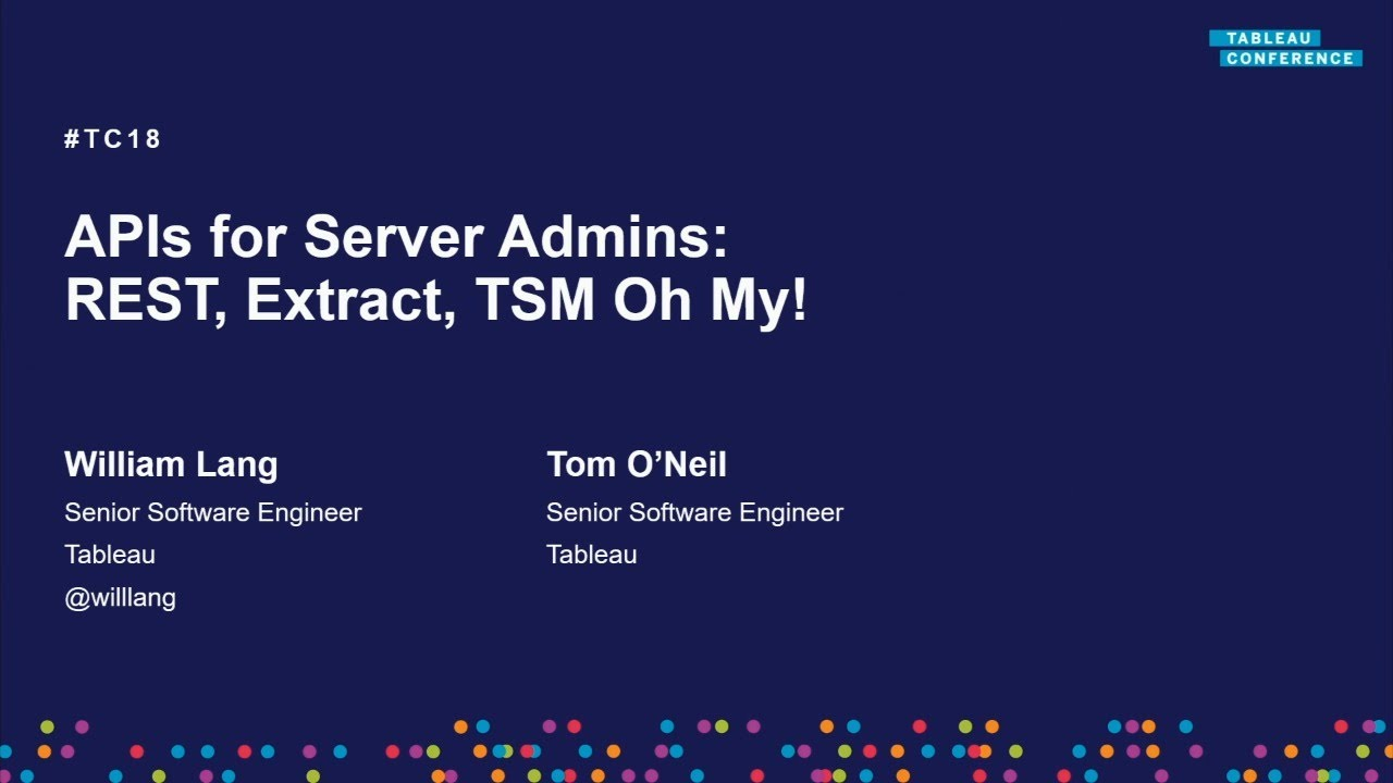 APIs for server admins | REST, Extract, TSM, oh my!