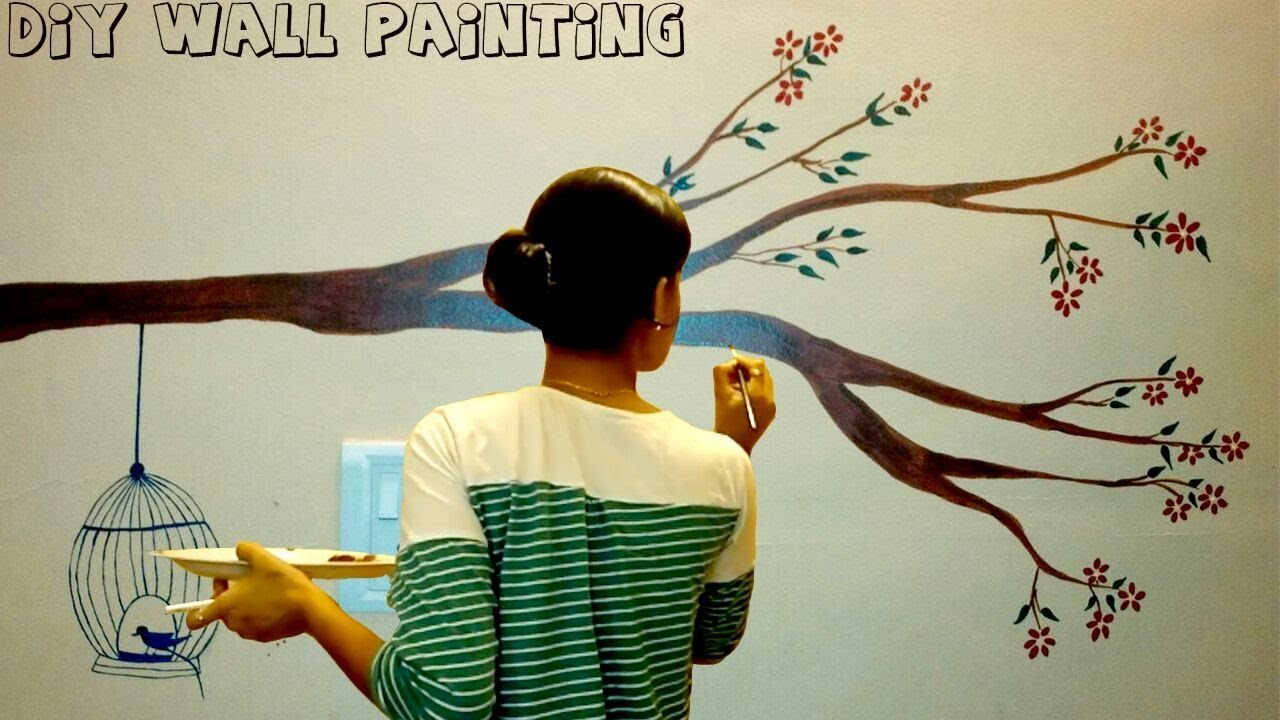 Diy Simple Tree Wall Painting For Any Room Wall Painting Tutorial