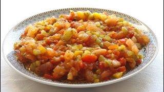 Recette marocaine  de  Salade au poivron et tomate grillés   Moroccan Tomato Pepper Salad recipe