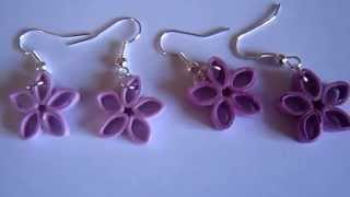 Handmade Jewelry - Paper Quilling Flower Earrings (Not Tutorial)