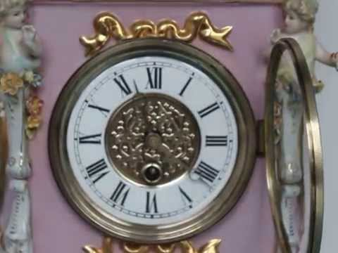 MEISSEN STYLE Antique Mantel Clock Porcelain China LARGE Putty