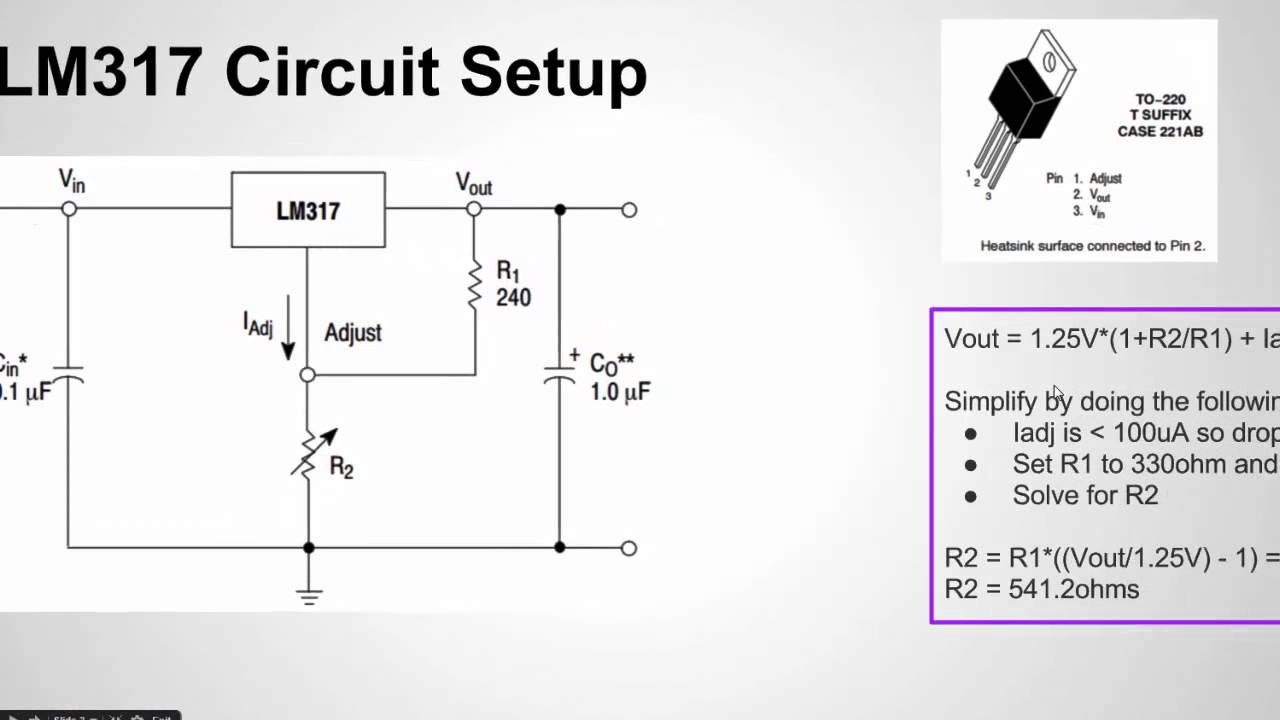 how to configure the lm317 voltage regulator youtube rh youtube com lm317t voltage regulator circuit diagram lm317 voltage regulator circuit 5v