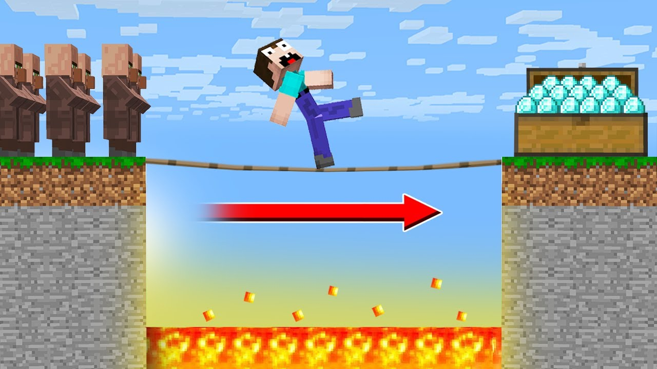 CAN a NOOB WALK a TIGHTROPE? DANGEROUS ACHIEVEMENTS in Minecraft Noob vs Pro