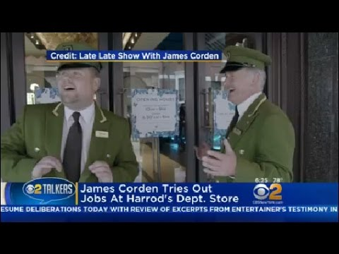 James Corden Tries Out Jobs At Harrod's Dept. Store