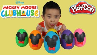 Disney Mickey Mouse Play-Doh Surprise Eggs Opening Fun With Ckn Toys Minnie Mouse Donald Duck Goofy