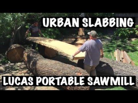 Urban Giant Log Slabbing using Lucas Portable Sawmill, How To, DIY Live Edge Slabs