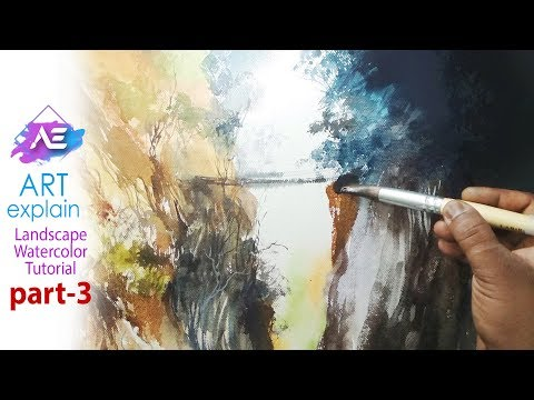 Watercolor landscape painting Tutorial – part 3 | Art Explain