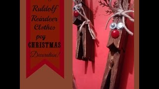 Diy Ruldolf  Reindeer Christmas Clothes Peg/pin Upcycled Decoration/ornament