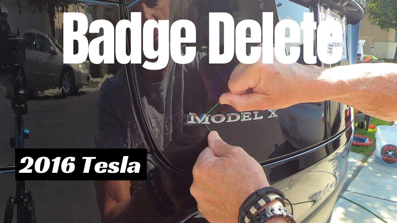 Car Badge Delete: Tesla Model X car emblem removal