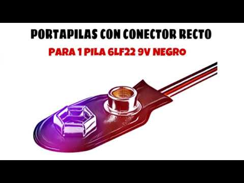 Video de Portapilas con conector recto para 1 pila 6LF22 9V  Negro