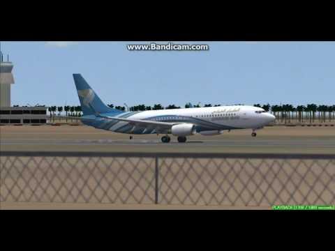 Oman Air 737-800 Salalah International Airport OOSA Landing FS9