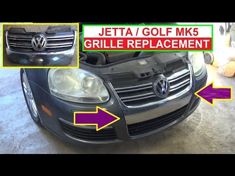 VW Jetta A5 MK5 Golf MK5 Grille Grill Removal and Replacement How to replace bumper grille