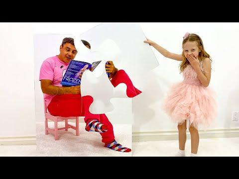 Nastya makes jokes on her dad