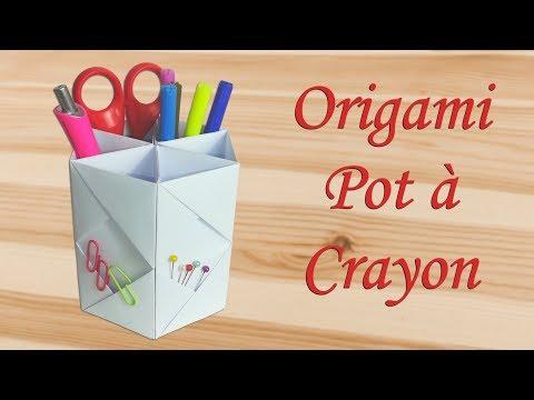 Origami : Pot à crayons en papier [ Tuto Simple ]