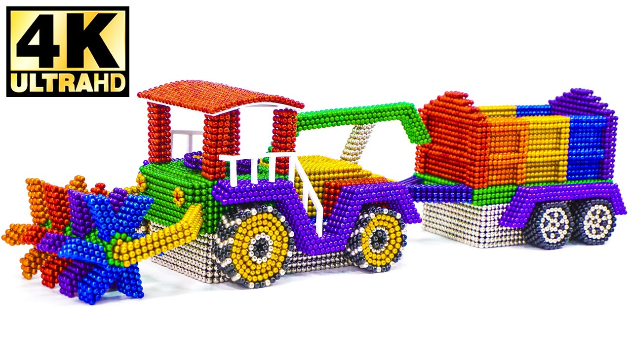 DIY - How To Make Farm Truck from Magnetic Balls (Satisfying ASMR)   Magnetic Man 4K