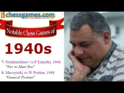 Brilliant Chess Games :  Nezhmetdinov vs Ermolin,  Maczynski vs Pratten - 1940s - Part 4 of 5