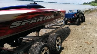 Rc Boat Launch Recovery SCX10 Ram 1500 and Traxxas Spartan 2015-07-05