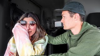 Our scariest day oḟ van life. (winter in Yellowstone)
