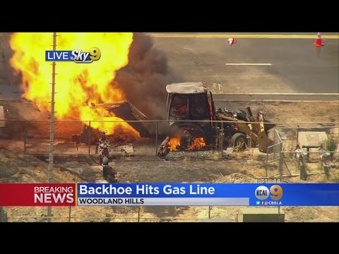 Evacuations Ordered In Woodland Hills After Backhoe Ruptures Natural Gas Line, Erupts In Flames