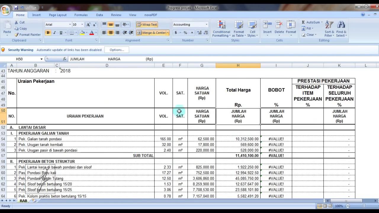 Cara Membuat Laporan Proyek Dengan Excel Youtube