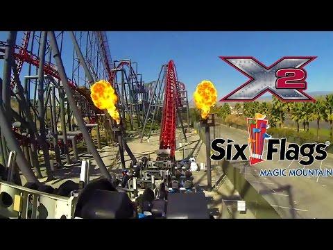X2 Roller Coaster POV Six Flags Magic Mountain