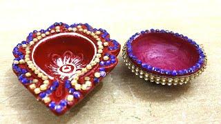Beautiful diya decoration,/how to decorate diya with beads,#KIDS#DIWALI#DIY