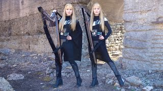 The IMPERIAL MARCH (Star Wars) Harp Twins - Camille and Kennerly
