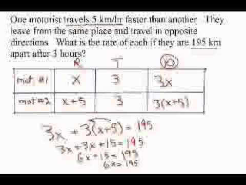 grade 9 word problems rate distance time examples youtube. Black Bedroom Furniture Sets. Home Design Ideas