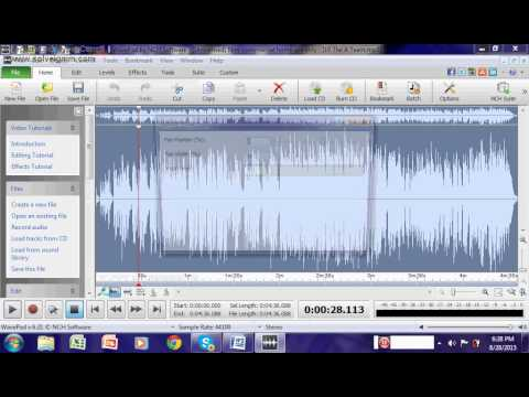 How to reduce vocals in wavepad