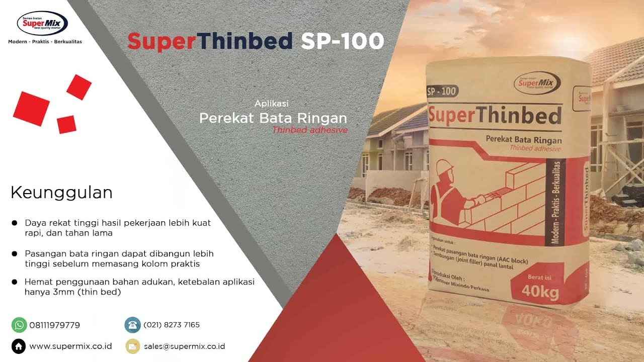 Mortar Bata Ringan SuperThinbed SP 100, Kualitas Premium & Harga Distributor
