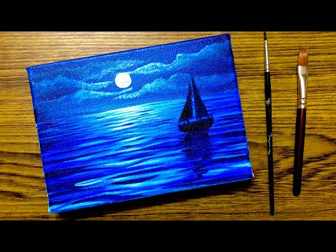 Acrylic Painting of Moonlight Night Sky | Sailboat Scenery Painting Tutorial | Daily Art #1
