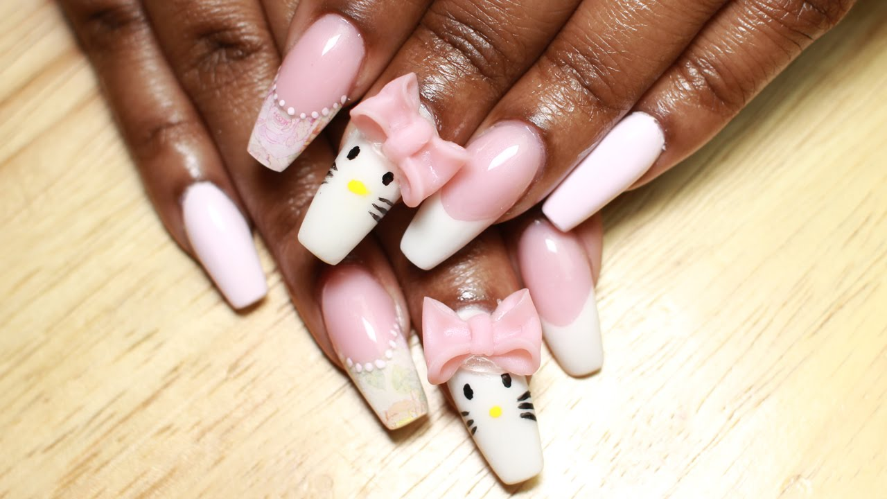 Acrylic Nails Hello Kitty Nails W 3d Acrylic Bow
